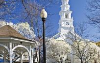 White Gazebo with White Church in the Background